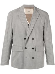 Loveless Printed Double Breasted Blazer Grey