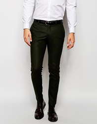 Selected Homme Wool Suit Trousers In Skinny Fit Darkbottlegreen