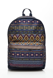 Forever 21 Tribal Print Backpack Navy Brown