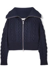 eee3329cfb9f Self Portrait Cable Knit Cotton And Wool Blend Cardigan Navy
