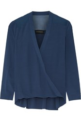 By Malene Birger Hailina Wrap Effect Crepe Top Petrol