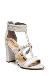 Sam Edelman Women's Yordana Woven T Strap Sandal Bright White Weave Leather