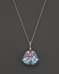 Vianna Brasil 18K White Gold Pendant Necklace With Pink Amethyst Blue Topaz And Diamond Accents 16.5