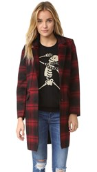 Eleven Paris Plaid Coat Medium Red