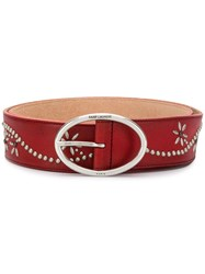 Saint Laurent Oval Buckle Belt Red