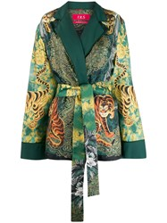 F.R.S For Restless Sleepers Tiger Print Belted Blazer Green