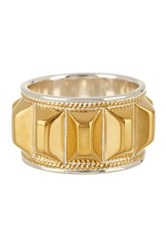 Anna Beck 18K Gold Plated Sterling Silver Faceted Bar Ring Metallic
