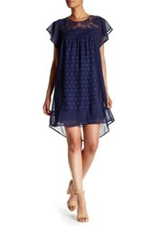 Daniel Rainn Flutter Sleeve Lace Yoke Babydoll Dress Blue