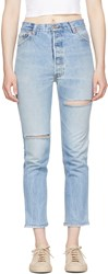Re Done Indigo Levis Edition High Rise Ankle Crop Jeans