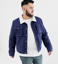 Another Influence Plus Faux Suede Jacket With Borg Collar Navy
