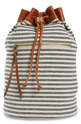 Sole Society Maisee Stripe Fabric Backpack Black Black Cream