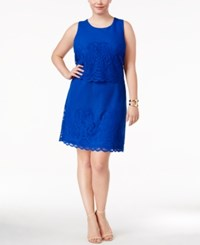 Charter Club Plus Size Layered Fit And Flare Dress Only At Macy's Modern Blue