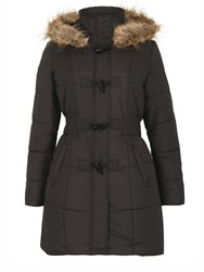 Izabel London Padded Coat With Fur Trim Hood Black