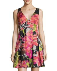 Trina Turk Sleeveless Floral Print Fit And Flare Dress Multi