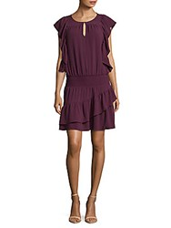 Ella Moss Ruffled Keyhole Sheath Dress Deep Violet