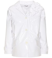 Miu Miu Embellished Faux Leather Jacket White