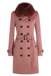 Burberry London Wool Coat With Fox Fur Collar Rose