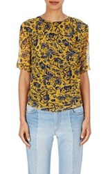 Etoile Isabel Marant Women's Bergen Floral Print Silk Top Yellow