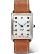 Tom Ford 001 Stainless Steel And Leather Watch White