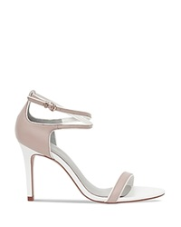 Reiss Strappy Sandals Gelda Piped High Heel Powder