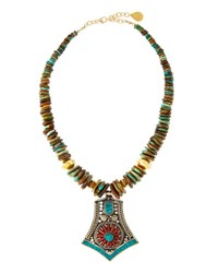 Devon Leigh Turquoise Slab Beaded Necklace W Tribal Inspired Pendant