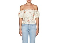 Brock Collection Boie Floral Silk Off The Shoulder Blouse Beige Tan