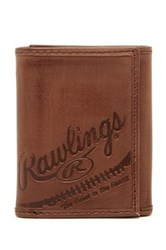 Rawlings Sports Accessories Fielder's Choice Leather Tri Fold Wallet Brown