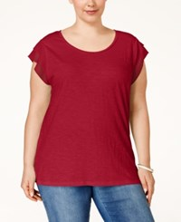 Styleandco. Style And Co. Plus Size Chiffon Sleeve Top Only At Macy's New Red Amore