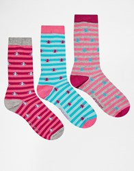 Penguin 3 Pack Ladies Socks In Navy Stripe Multi