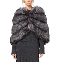 Michael Kors Fox Fur Wrap Cape Black Silver