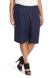 Plus Size Women's Eileen Fisher Organic Linen Pull On Long Shorts Midnight