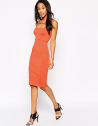 Oh My Love Body Conscious Midi Dress With Keyhole Tangerine