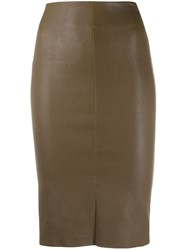 Drome High Waisted Fitted Skirt Brown
