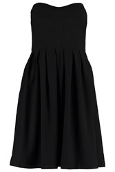 Wolf And Whistle Black Georgette Strapless Panelled Dress