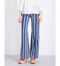 Chloe Striped Cotton And Linen Blend Trousers Blue Multi