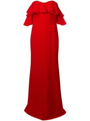 Alexander Mcqueen Dropped Sleeves Evening Dress Red