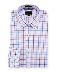Neiman Marcus Luxury Tech Classic Fit Plaid Print Dress Shirt Pink