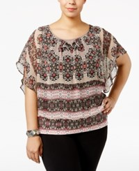 Jm Collection Plus Size Printed Butterfly Sleeve Top Only At Macy's Gypsy Pattern