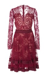 Costarellos V Neck Chantilly Lace Dress Red