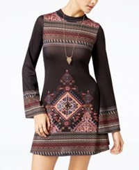 American Rag Printed Bell Sleeve Fit And Flare Dress Only At Macy's Classic Black