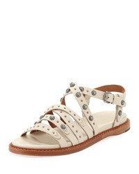 Frye Andora Studded Leather Sandals Off White