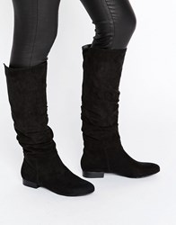 Asos Collaboration Slouch Knee High Boots Black
