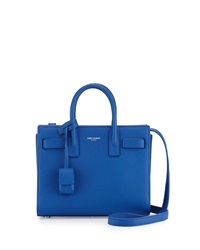 Sac De Jour Mini Grain Leather Crossbody Bag Blue Saint Laurent