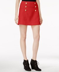 Kensie Quilted Button Detail Skirt Red