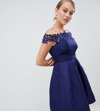 Little Mistress Petite Bardot Full Prom High Low Dress With Applique Navy