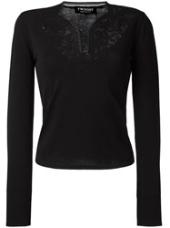 Twin Set Lace V Neck Jumper Black