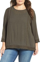 Caslonr Plus Size Women's Caslon Embroidered Gauze Top Olive Brown