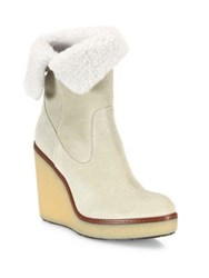 Moncler Regine Shearling And Suede Wedge Booties Light Beige