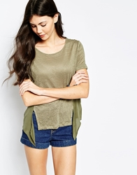 Aryn K T Shirt With Woven Panels Khaki