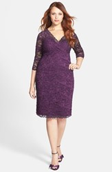Plus Size Women's Marina Embellished Three Quarter Sleeve Lace Dress Purple